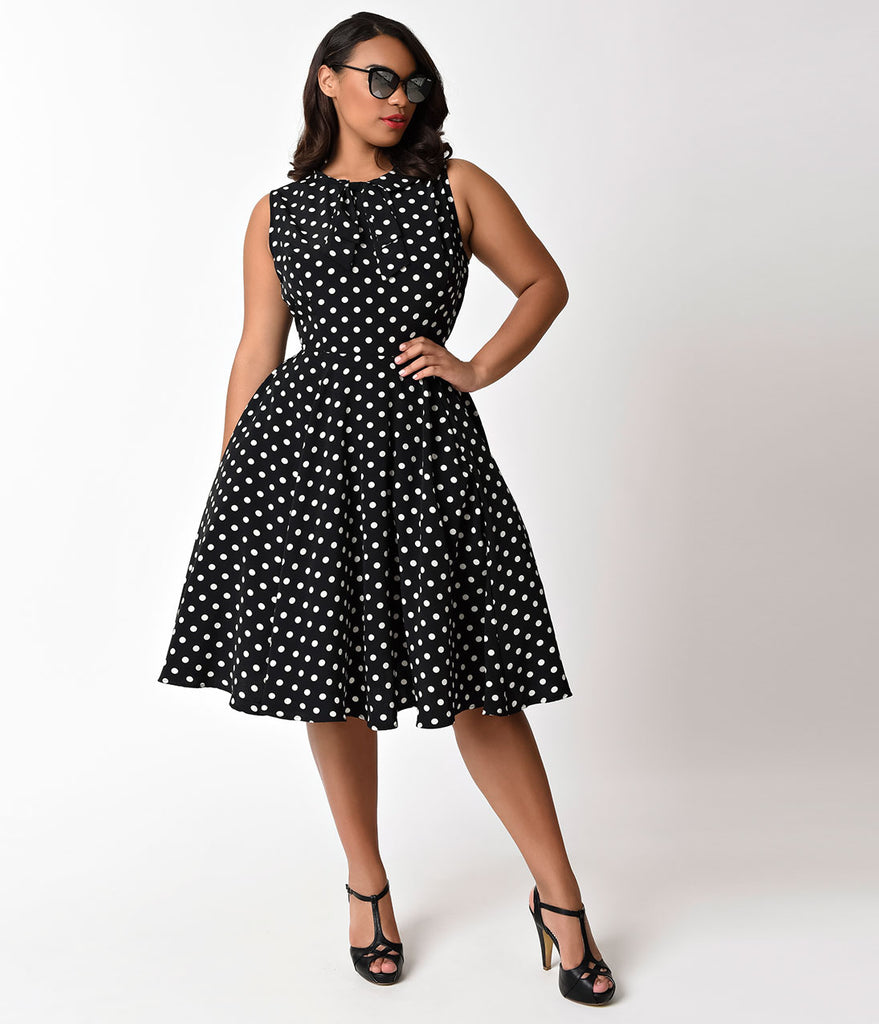 Unique Vintage Plus Size 1940s Black & Ivory Dotted Olson Swing Dress