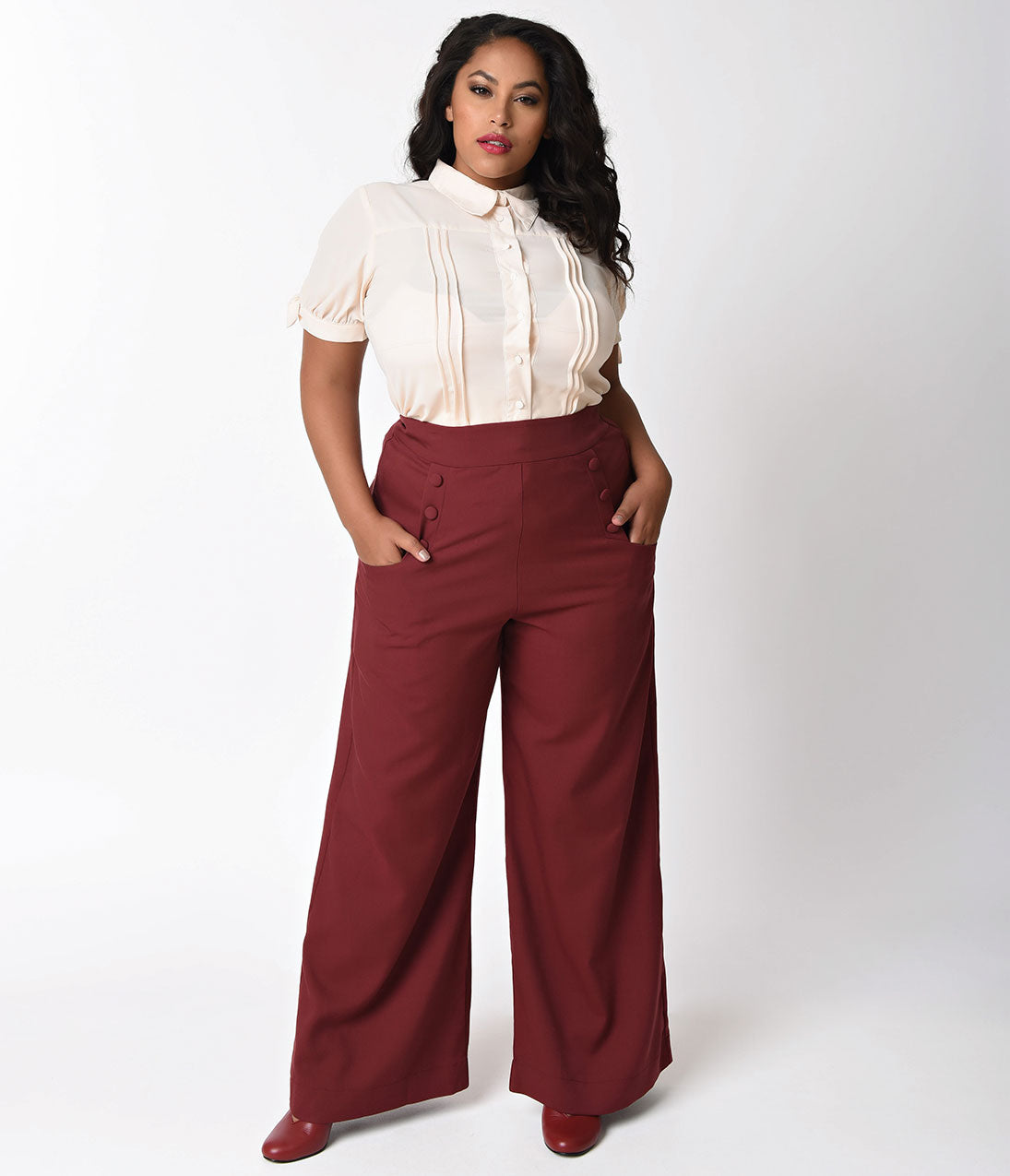 1950s Pants & Jeans- High Waist, Wide Leg, Capri, Pedal Pushers Unique Vintage Plus Size 1940s Burgundy Red High Waist Sailor Ginger Pants $62.00 AT vintagedancer.com