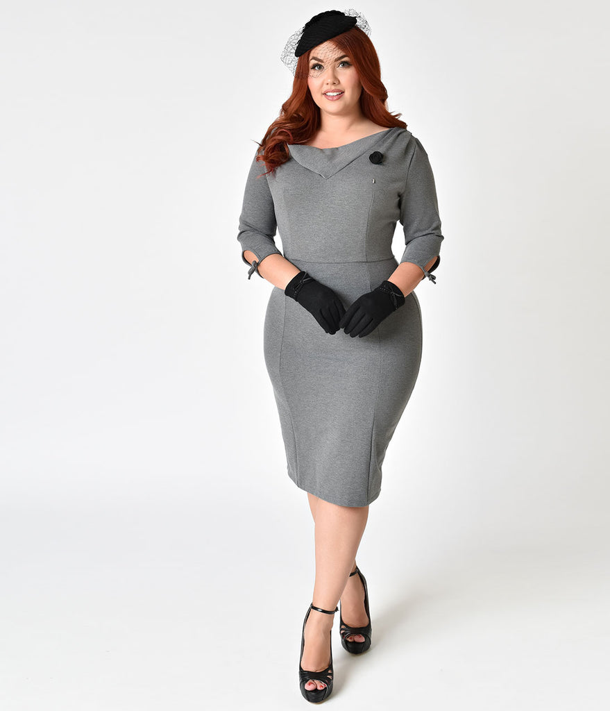 Unique Vintage Plus Size 1940s Style Charcoal Grey Half Sleeve Wiggle Dress