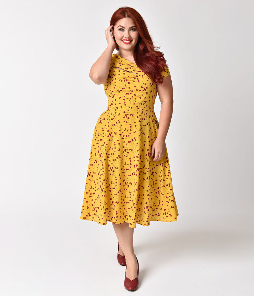 Unique Vintage Plus Size Mustard Yellow & Red Floral Print Amelia Swin