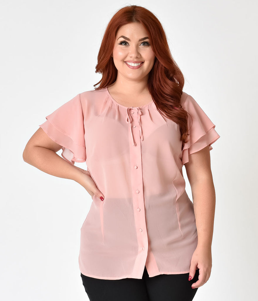 Unique Vintage Plus Size 1940s Peach Pink Chiffon Cap Sleeve Jeannie Blouse