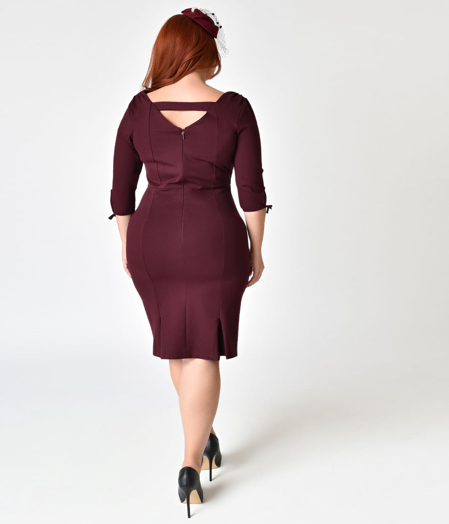 Unique Vintage Plus Size 1940s Style Merlot Carmen Half Sleeve Wiggle Dress