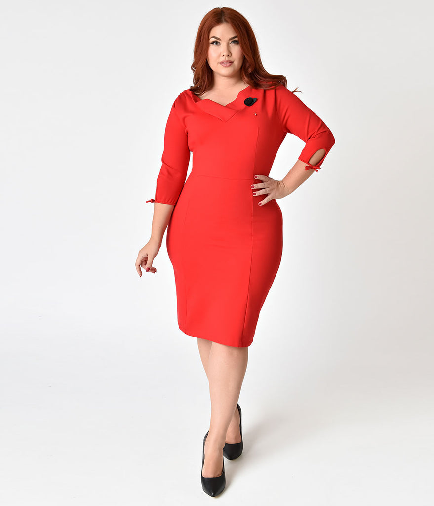 Unique Vintage Plus Size 1940s Style Red Half Sleeve Wiggle Dress