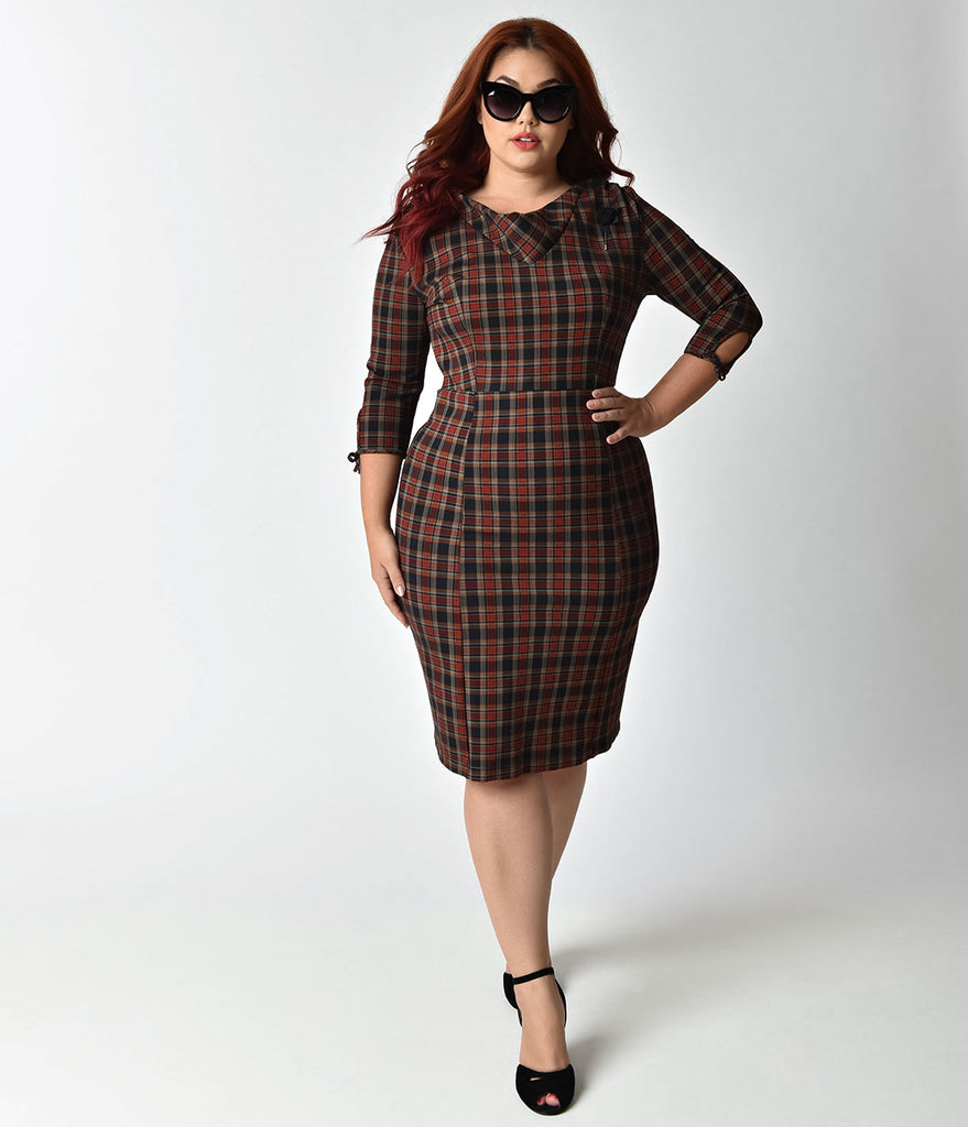 Unique Vintage Plus Size 1940s Style Dark Plaid Half Sleeve Wiggle Dress