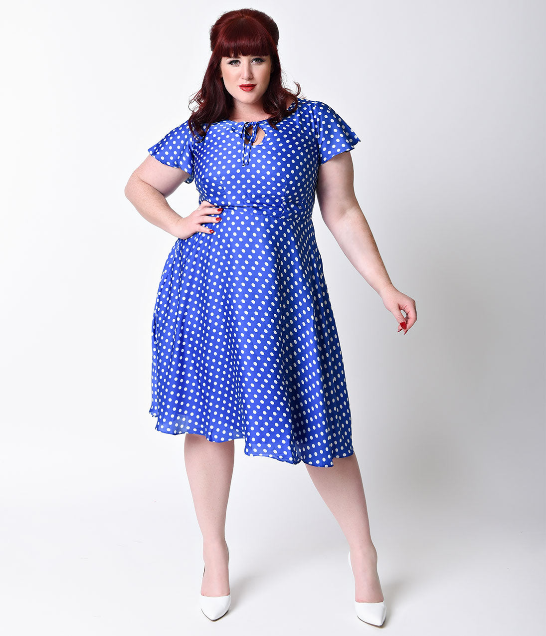 1940s Plus Size Dresses | Swing Dress, Tea Dress 1940s Style Royal Blue  White Dot Formosa Swing Dress $66.00 AT vintagedancer.com