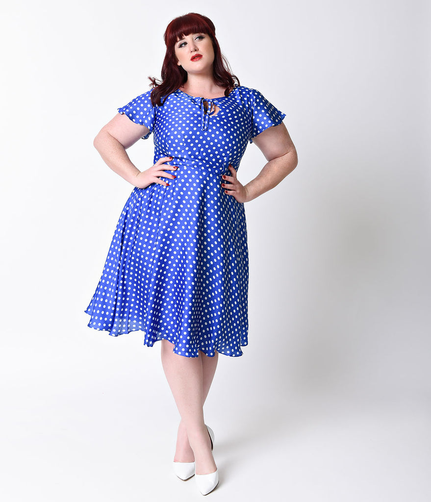 Unique Vintage Plus Size 1940s Style Royal Blue & White Dot Formosa Swing Dress