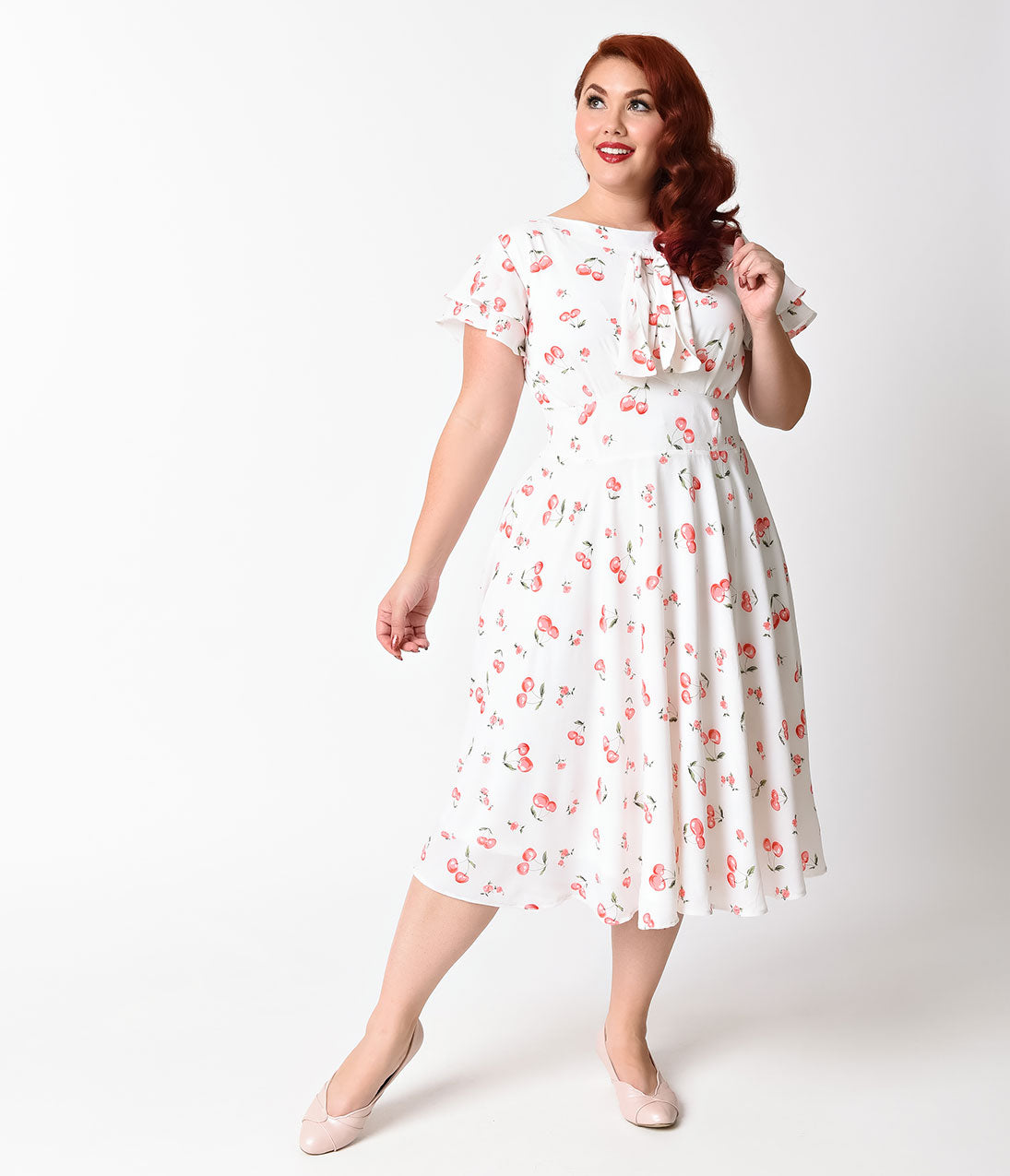 1940s Plus Size Dresses | Swing Dress, Tea Dress Unique Vintage Plus Size 1940s White  Cherry Print Cap Sleeve Dixon Day Dress $62.00 AT vintagedancer.com