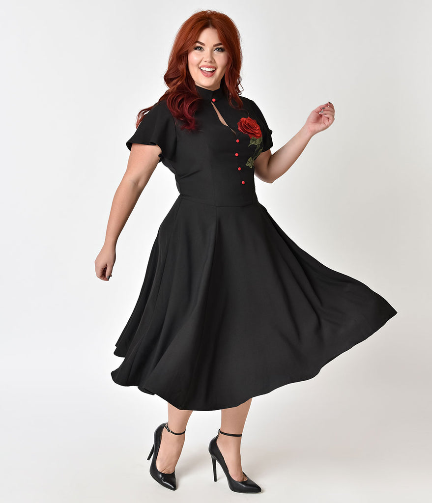 Unique Vintage Plus Size 1950s Black & Embroidered Red Rose Baltimore Swing Dress