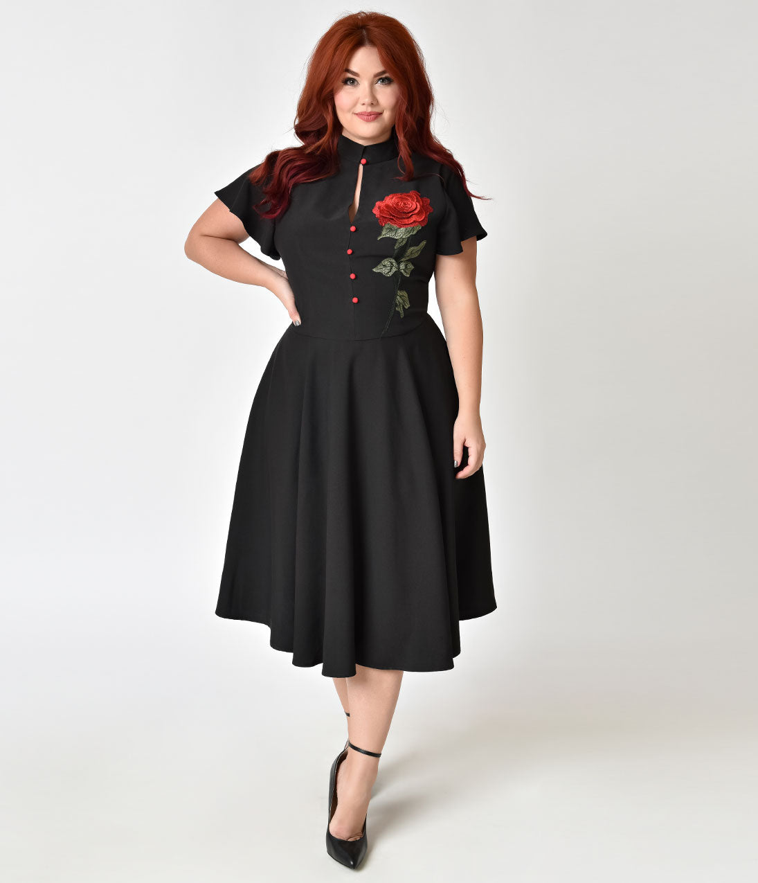 1950s Plus Size Dresses, Swing Dresses Unique Vintage Plus Size 1950S Black  Embroidered Red Rose Baltimore Swing Dress $98.00 AT vintagedancer.com