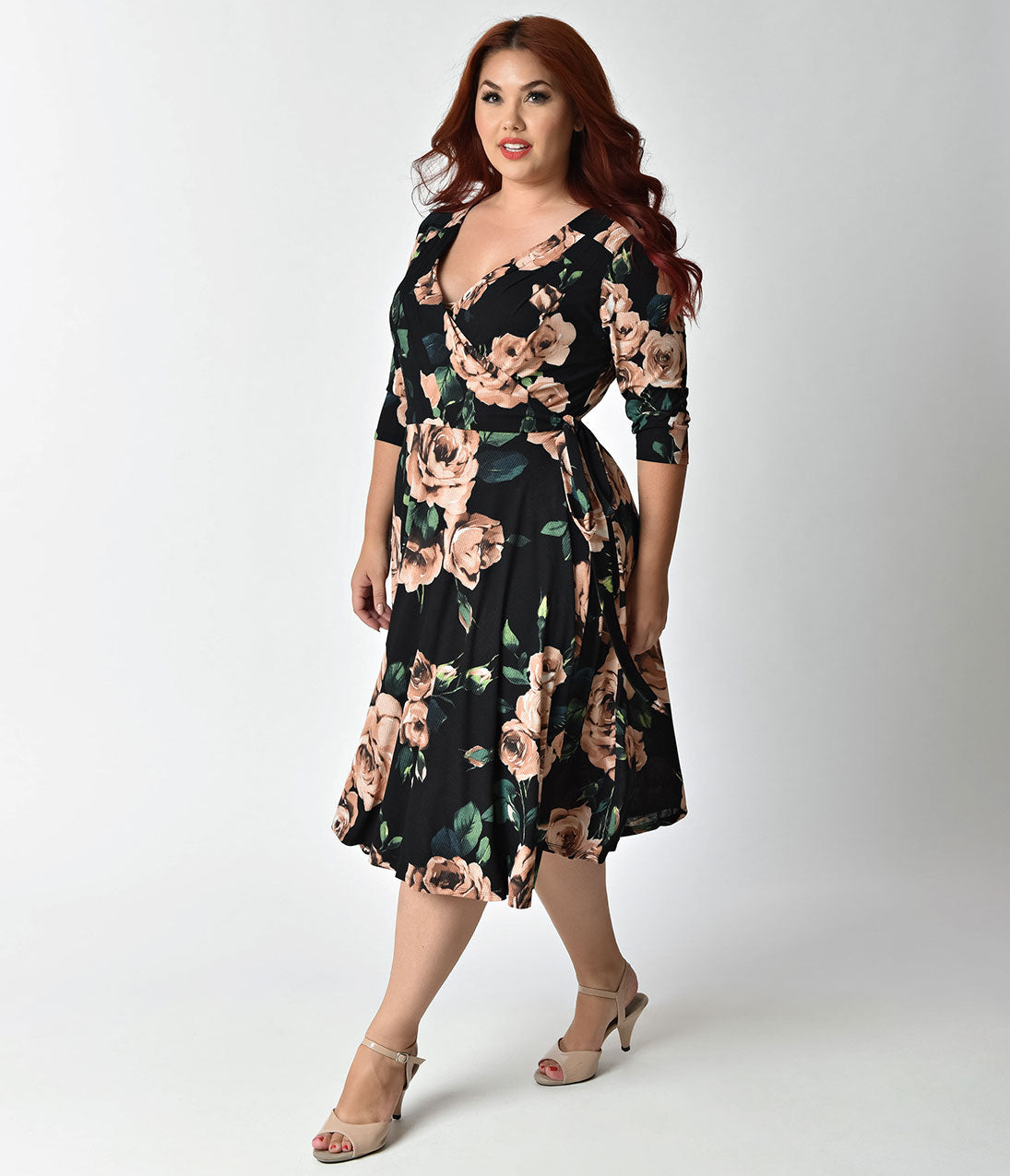 1940s Plus Size Dresses | Swing Dress, Tea Dress Unique Vintage Plus Size 1940s Style Black  Light Pink Roses Print Kelsie Wrap Dress $53.00 AT vintagedancer.com