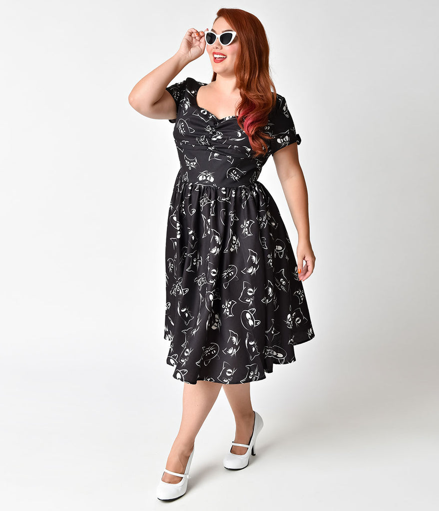 Unique Vintage Plus Size 1950s Style Black Prowling Cat Print Short Sl
