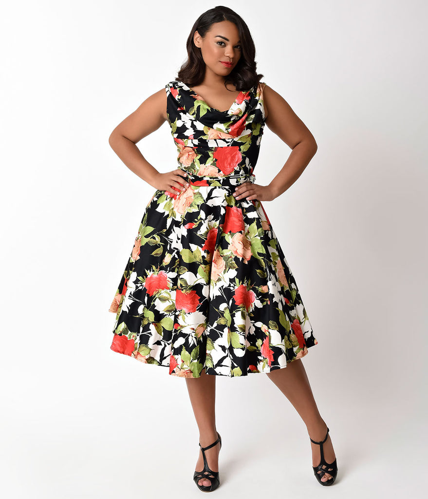 Unique Vintage Plus Size 1950s Style Black & Rose Bouquet Blanc Noir Swing Dress