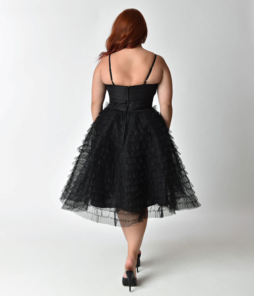 Unique Vintage Plus Size 1950s Black Ruffled Tulle Sweetheart Cupcake Swing Dress
