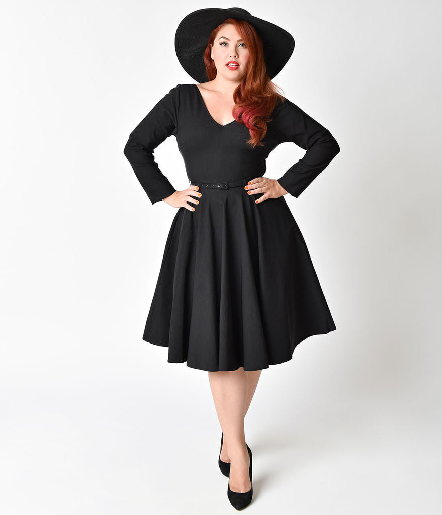 Unique Vintage Plus Size 1950s Black Stretch Long Sleeve Maude Swing D