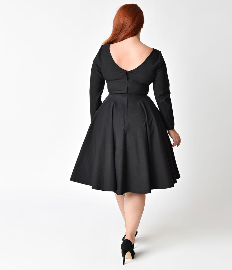 Unique Vintage Plus Size 1950s Black Stretch Long Sleeve Maude Swing Dress
