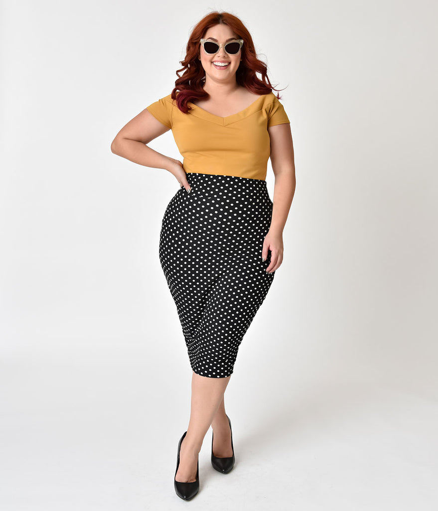 Unique Vintage Plus Size 1950s Black & White Dotted High Waist Katharine Wiggle Skirt