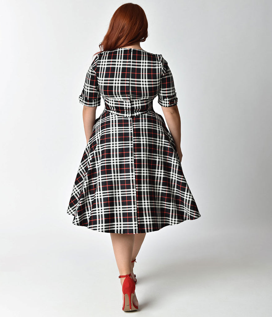 Unique Vintage Plus Size 1950s Black & White Plaid Delores Swing Dress with Sleeves