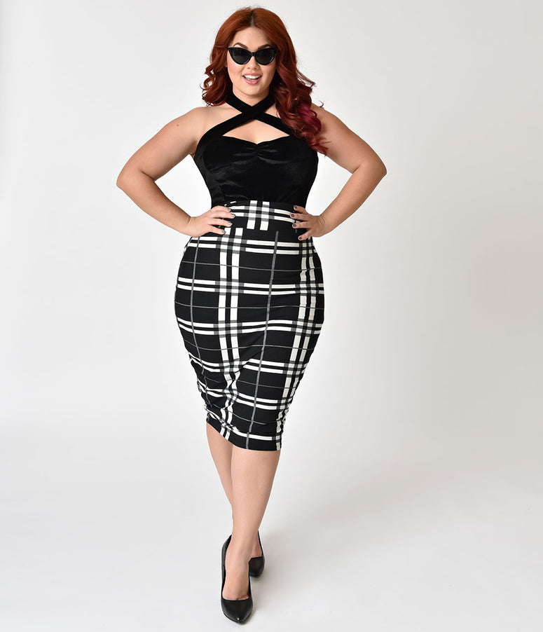 Unique Vintage Plus Size 1950s Black & White Plaid High Waist Katharine Wiggle Skirt