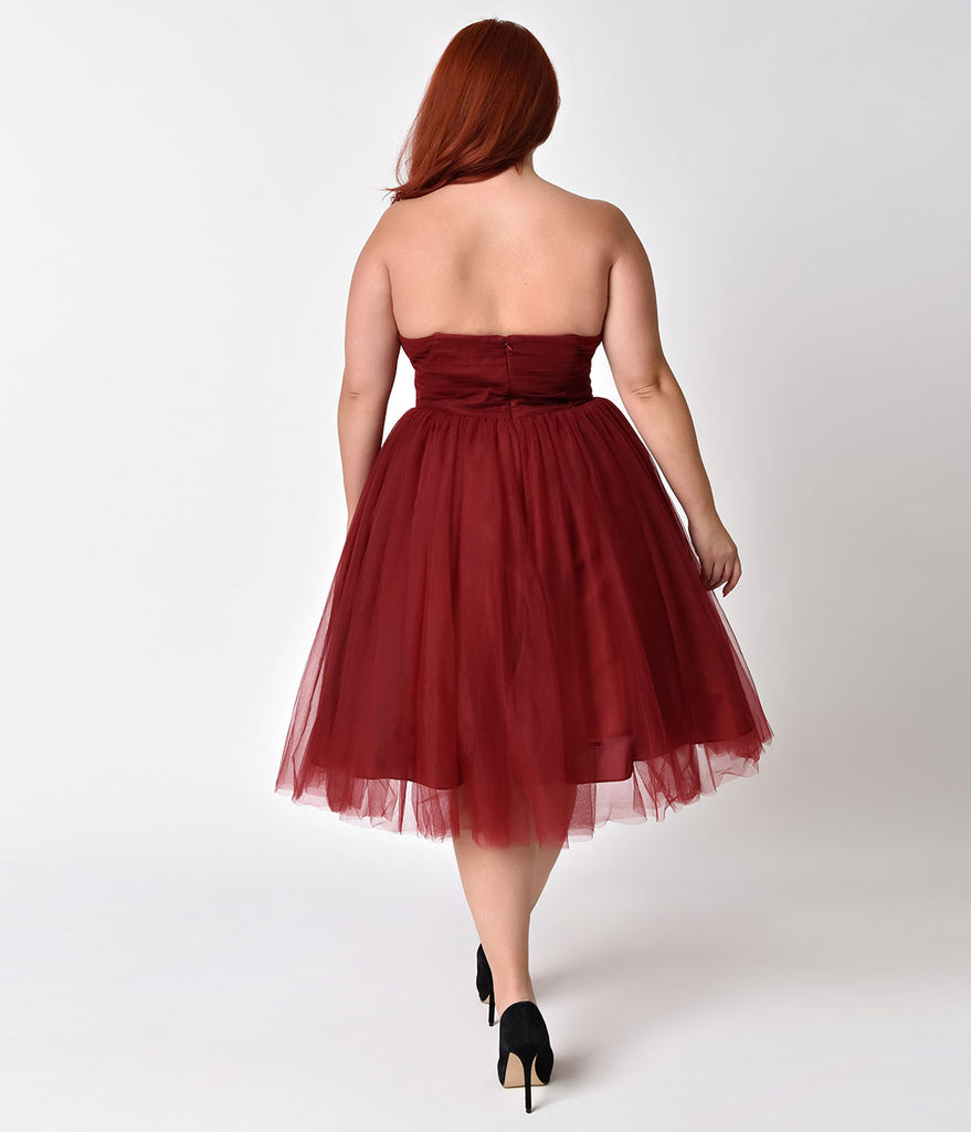 Unique Vintage Plus Size 1950s Burgundy Pleated Mesh Strapless Warner Swing Dress