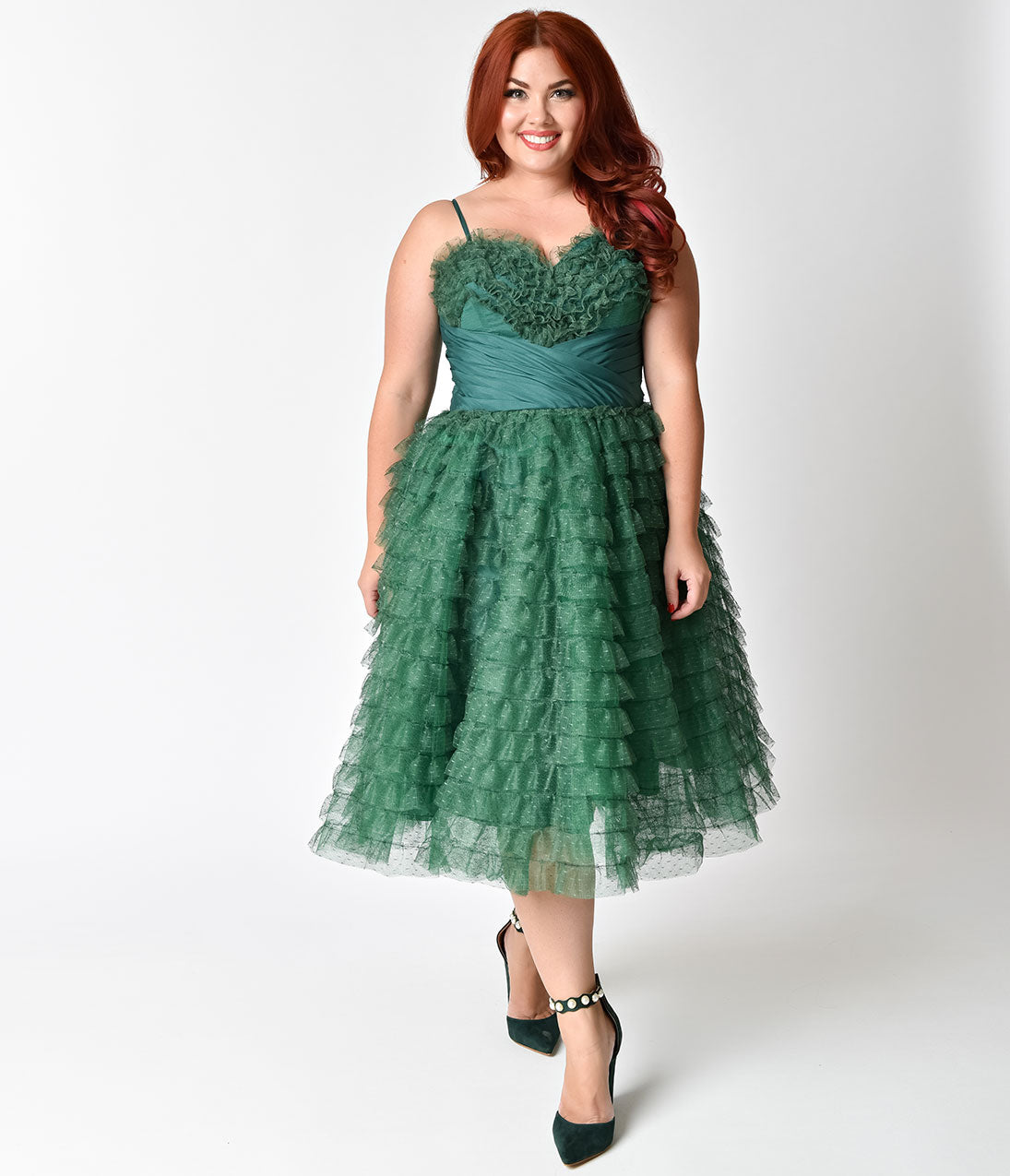 1950s Prom Dresses & Party Dresses Unique Vintage Plus Size 1950s Emerald Green Ruffled Tulle Sweetheart Cupcake Swing Dress $48.00 AT vintagedancer.com