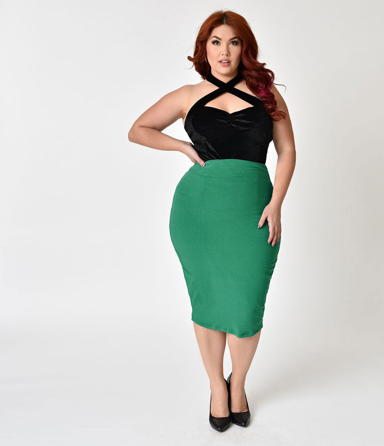 Unique Vintage Plus Size 1950s Green High Waist Katharine Knit Wiggle Skirt