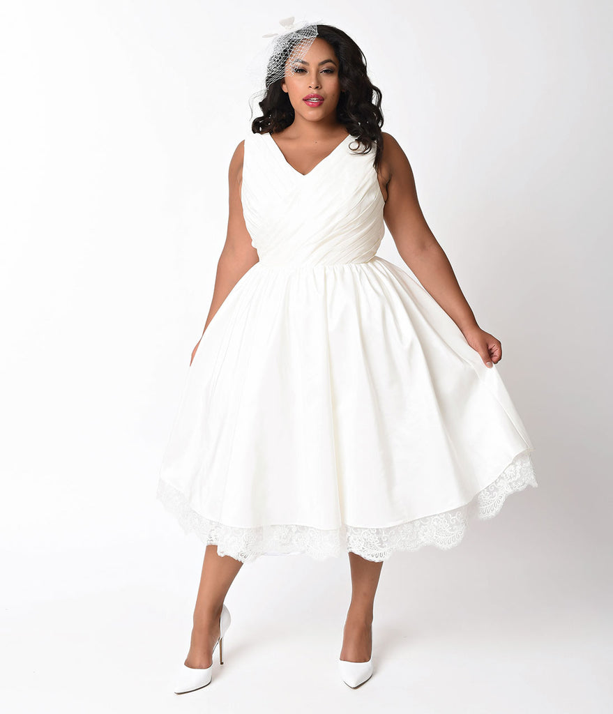 Unique Vintage Plus Size 1950s Ivory Pleated Taffeta Sleeveless Marseille Bridal Dress