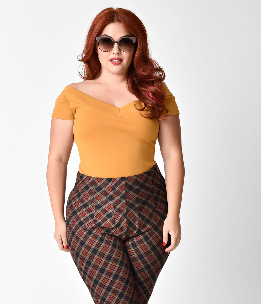 Unique Vintage Plus Size 1950s Mustard Yellow Stretch Knit Cap Sleeve Deena  Top ...