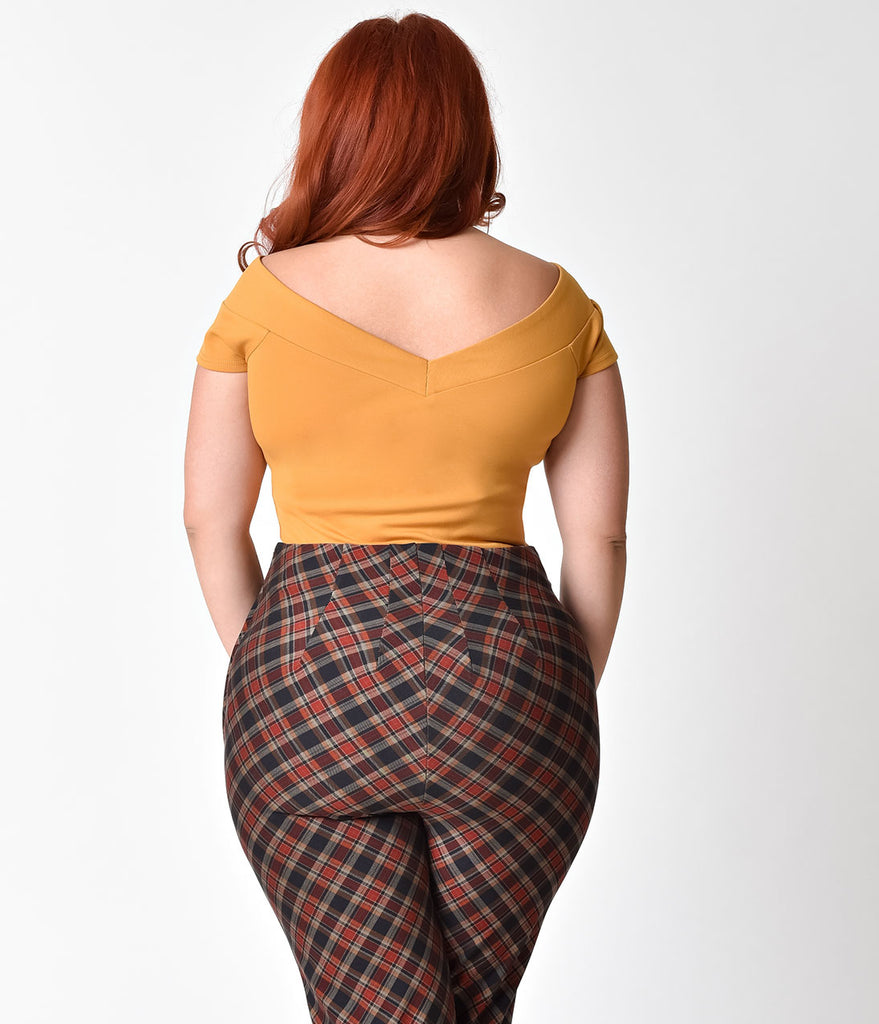 Unique Vintage Plus Size 1950s Mustard Yellow Stretch Knit Cap Sleeve Deena Top