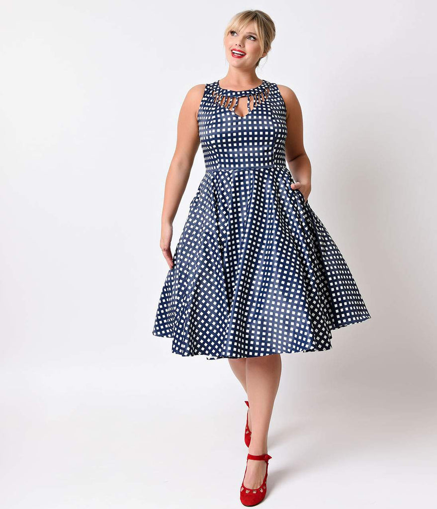 Unique Vintage Plus Size 1950s Navy & White Check Hacienda Sateen Swing Dress
