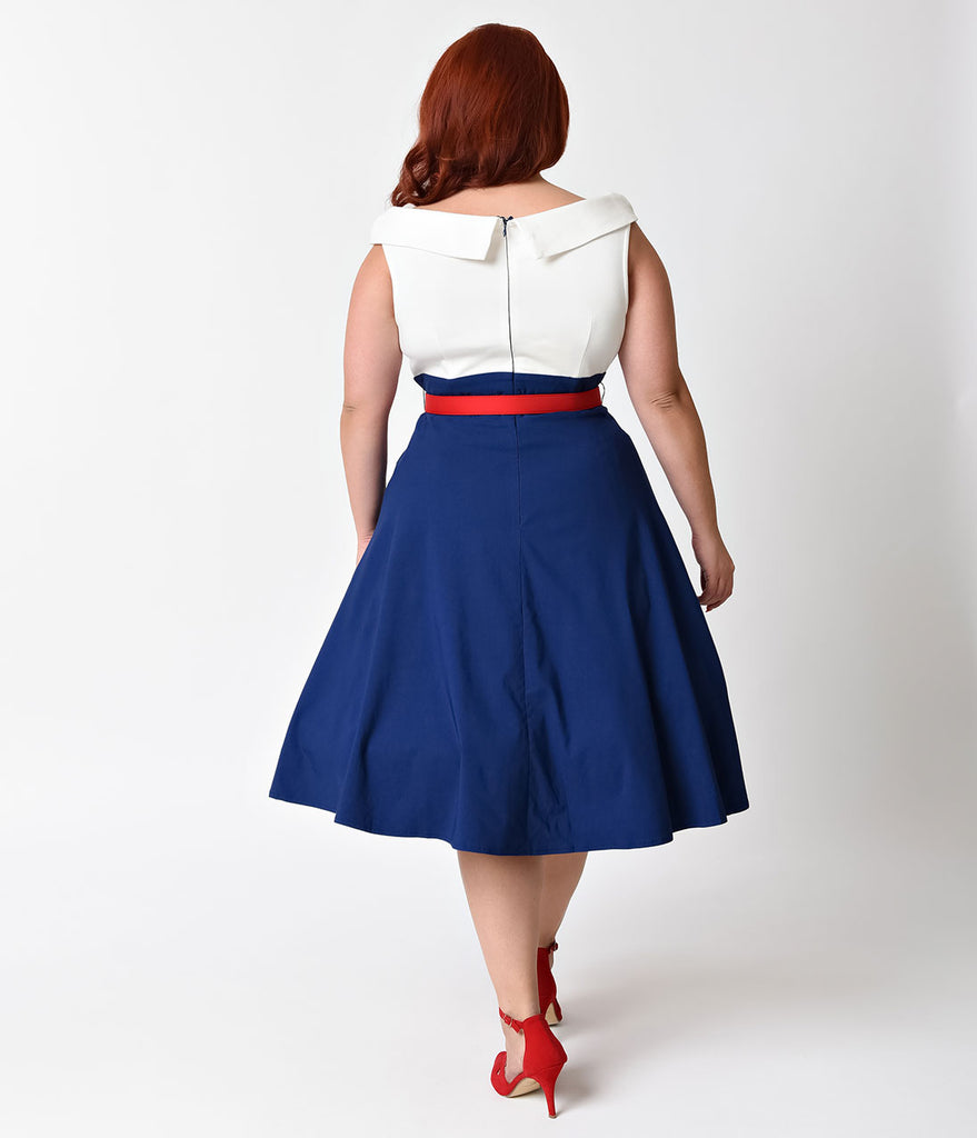 Unique Vintage Plus Size 1950s Navy, White, & Red Colorblock Tippi Swing Dress