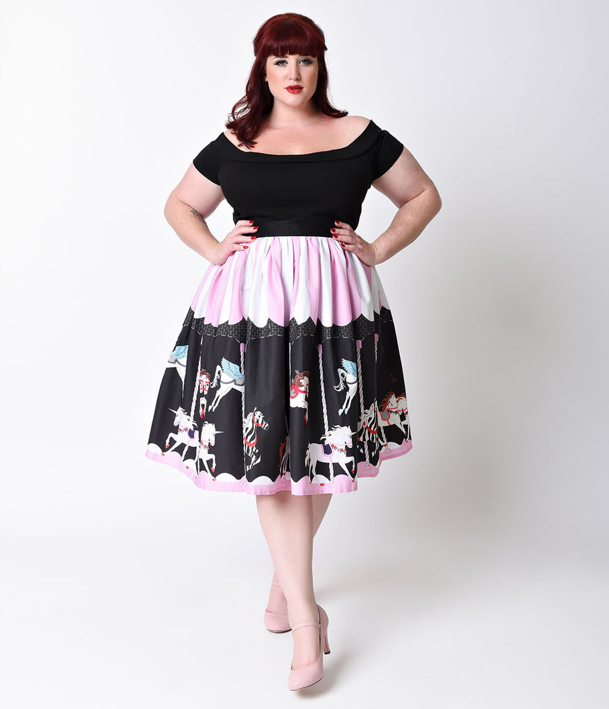 Unique Vintage Plus Size 1950s Pink & Black Carousel High Waist Circle Swing Skirt