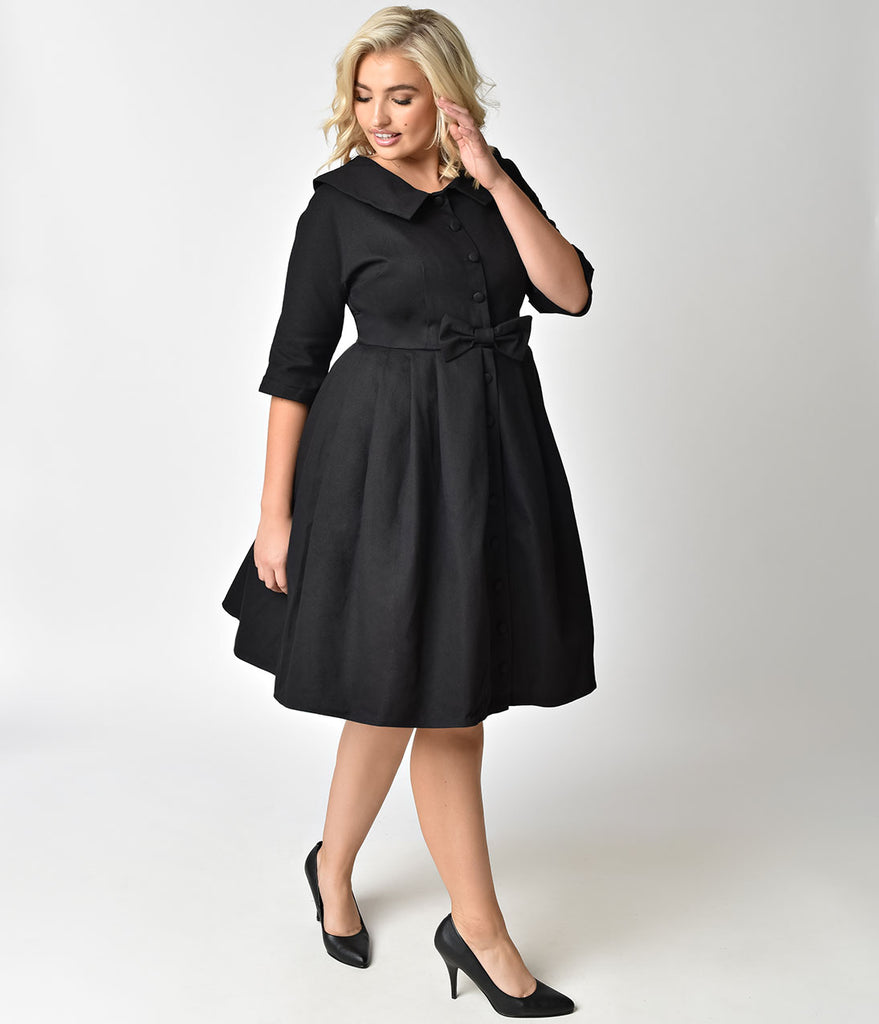 Unique Vintage Plus Size 1950s Style Black Button Up Sleeved Hedren Coatdress