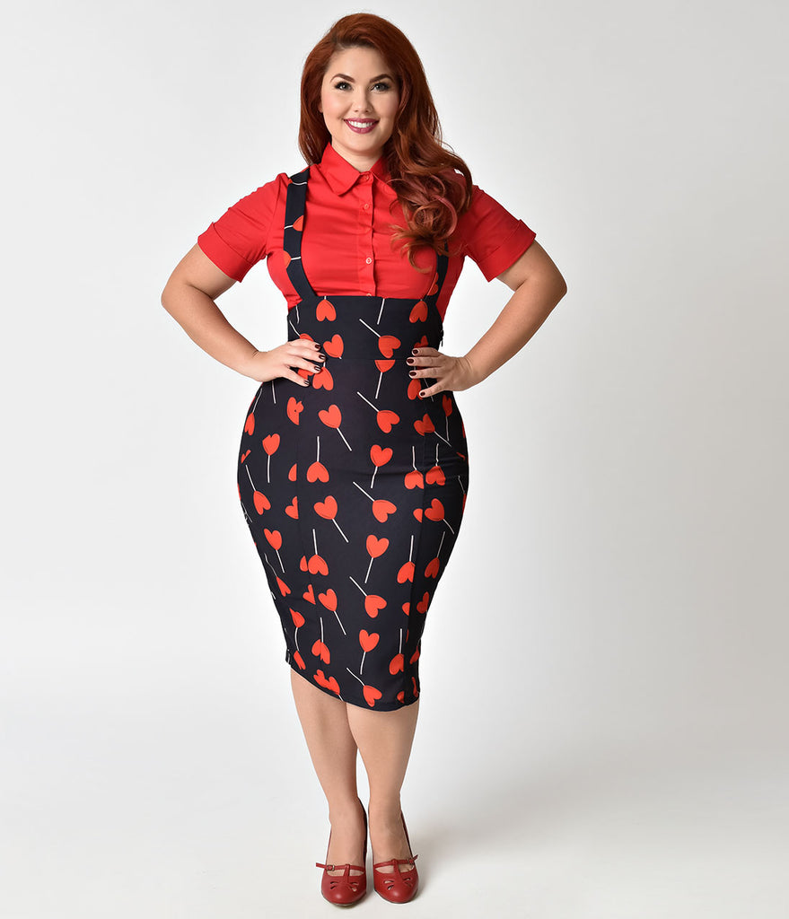 Unique Vintage Plus Size 1950s Style Black & Red Heart Lollipop Sabrina Suspender Skirt