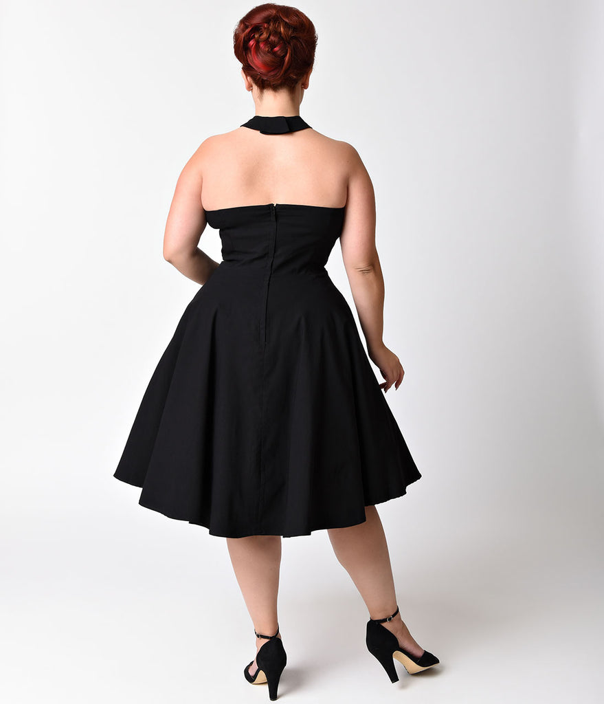 Unique Vintage Plus Size 1950s Style Black Criss Cross Halter Flare Rita Dress
