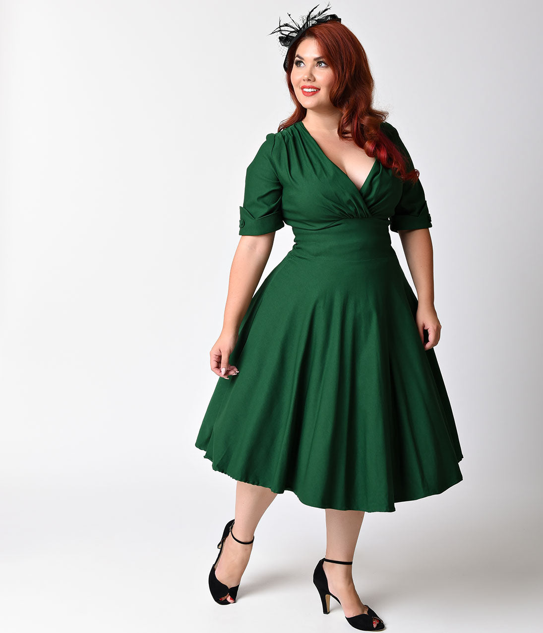 1950s Plus Size Dresses, Swing Dresses Unique Vintage Plus Size 1950S Emerald Green Delores Swing Dress With Sleeves $88.00 AT vintagedancer.com
