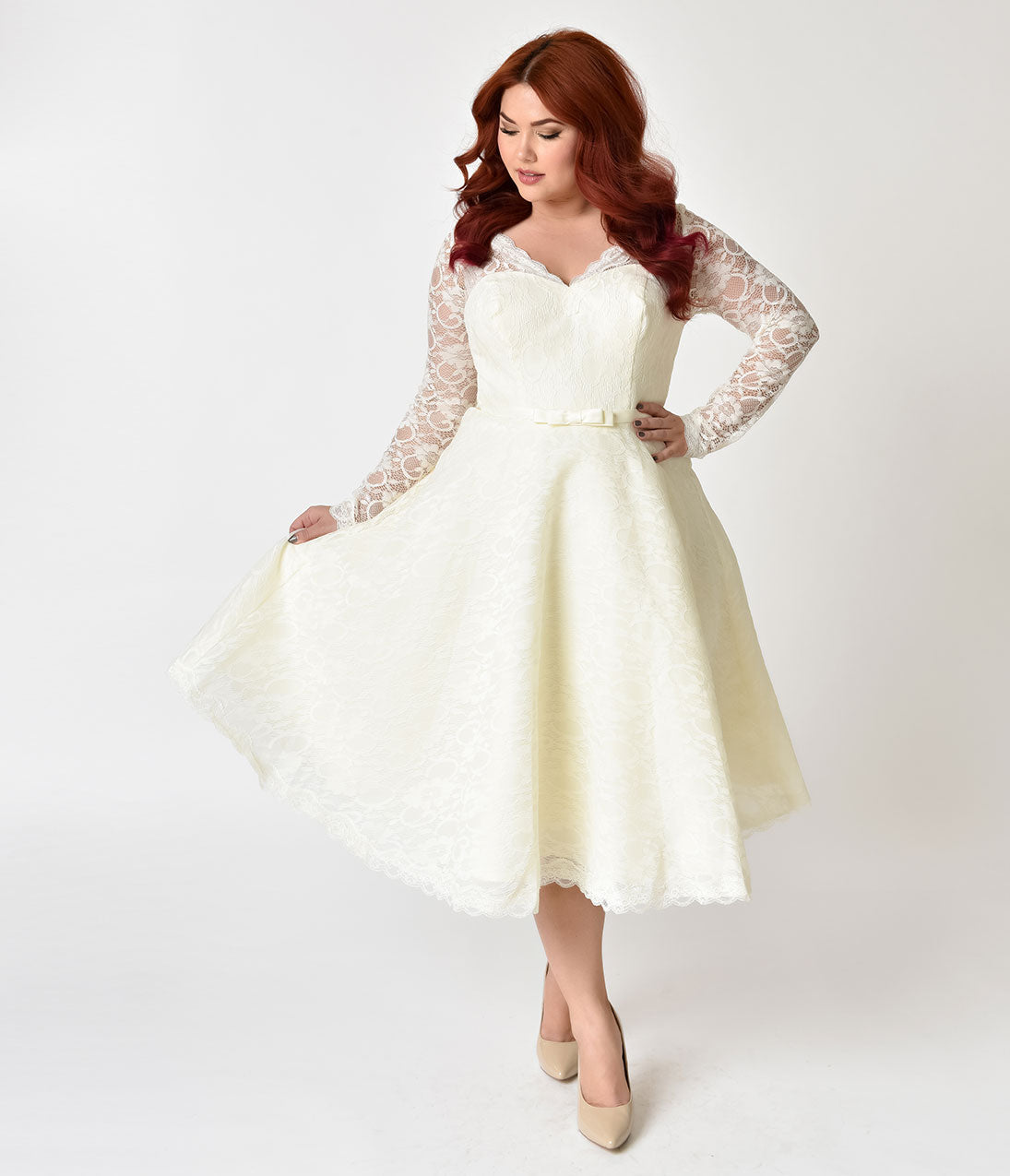 60s Wedding Dress | 1960s Style Wedding Dresses Unique Vintage Plus Size 1950s Style Ivory Lace Long Sleeve Martinique Swing Dress $228.00 AT vintagedancer.com