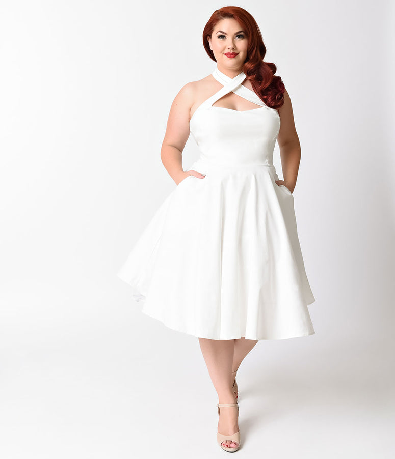 Unique Vintage Plus Size 1950s Style Ivory Criss Cross Halter Flare Rita Dress