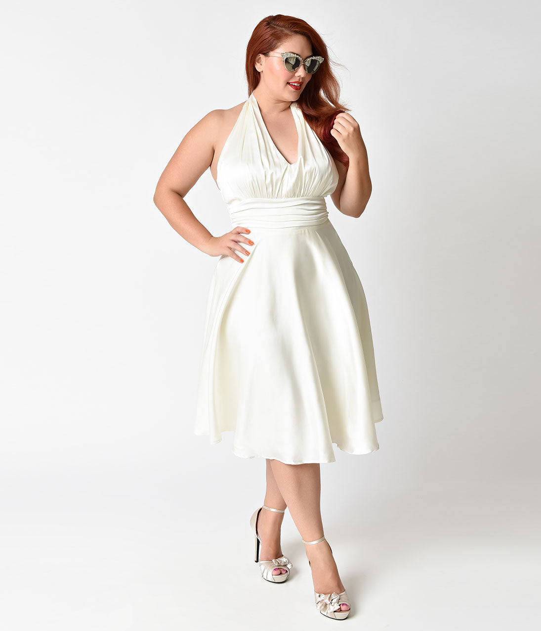 60s Wedding Dress | 1960s Style Wedding Dresses Unique Vintage Plus Size 1950s Style Ivory Satin Halter Hyannis Swing Dress $98.00 AT vintagedancer.com