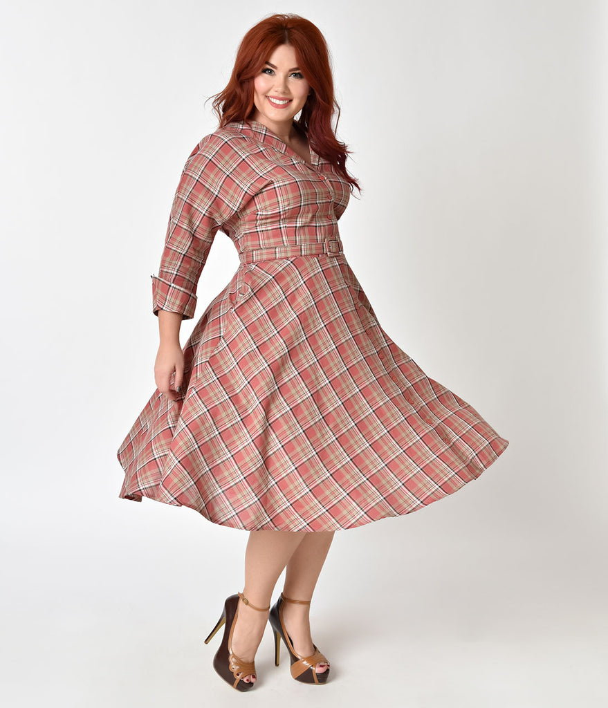 Finest Unique Vintage Plus Size 1950s Style Pink Plaid Cotton Sleeved Brookly BN01