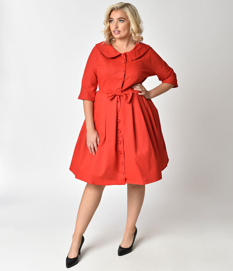 Unique Vintage Plus Size 1950s Style Red Button Up Sleeved Hedren Coatdress