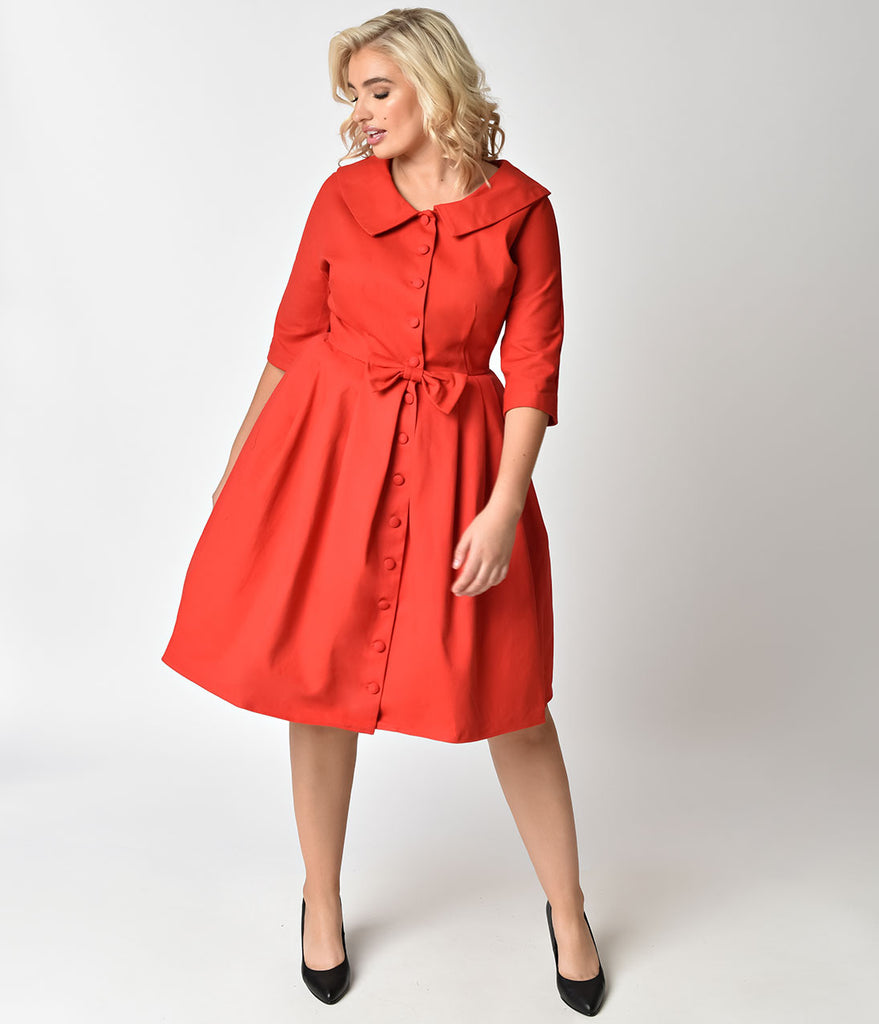 Unique Vintage Plus Size 1950s Style Red Button Up Sleeved Hedren Coat