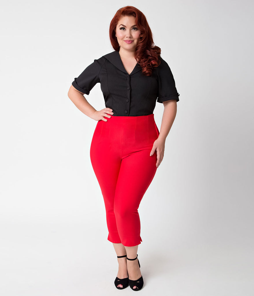 Unique Vintage Plus Size 1950s Style Red High Waist Donna Capri Pants