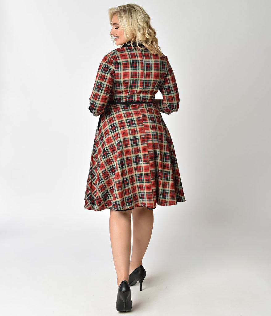 Unique Vintage Plus Size 1950s Style Red Plaid Three-Quarter Sleeve Trudy Swing Dress