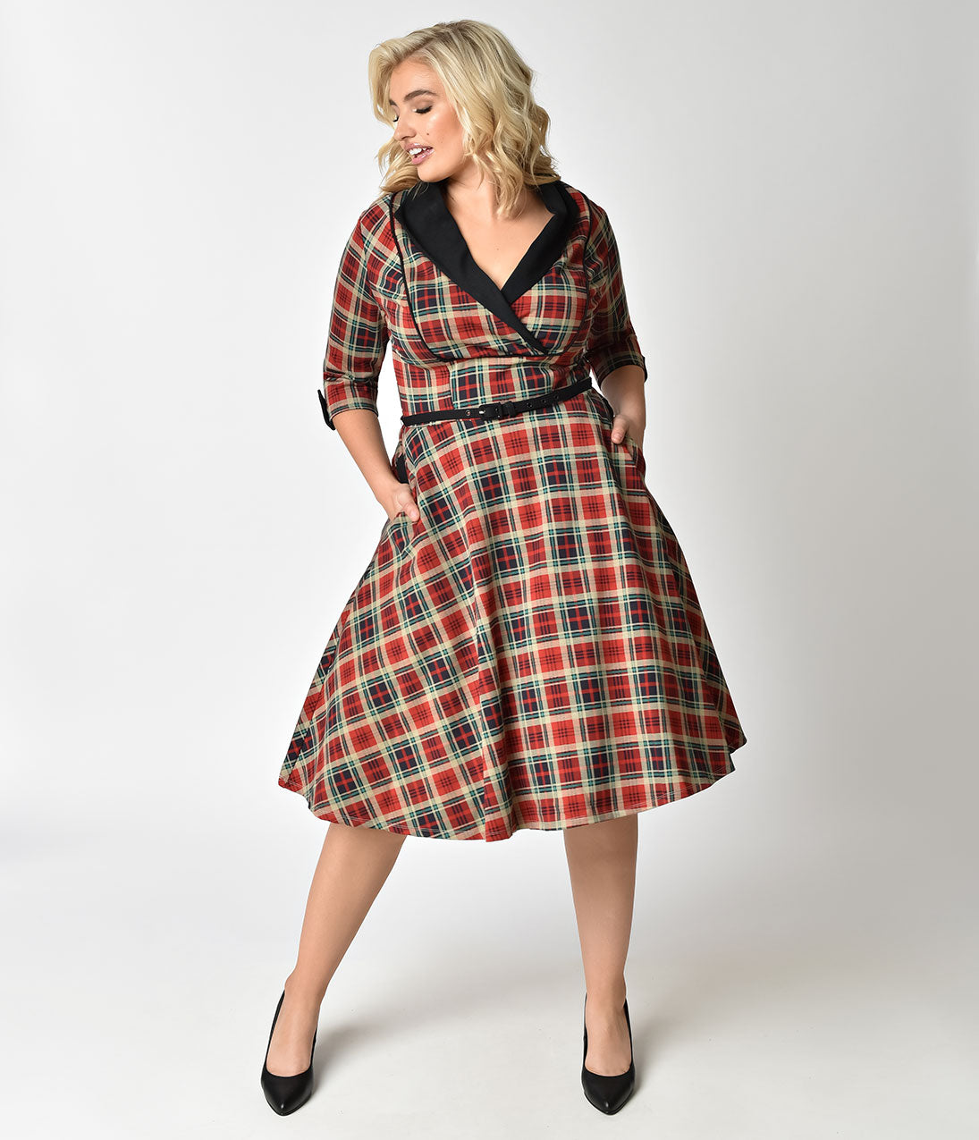 1950s Plus Size Dresses, Clothing and Costumes Unique Vintage Plus Size 1950S Style Red Plaid Three-Quarter Sleeve Trudy Swing Dress $98.00 AT vintagedancer.com