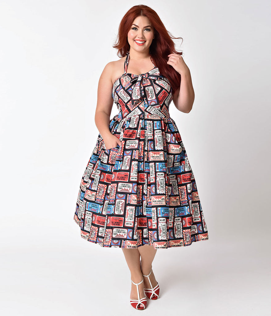 Unique Vintage Plus Size 1950s Style Vintage Circus Ticket Print Halter Billie Swing Dress