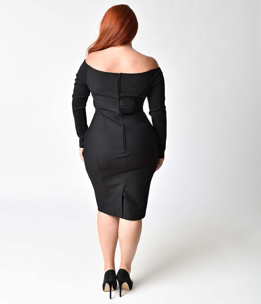 Unique Vintage Plus Size 1960s Black Cotton Stretch Long Sleeved Cape Cod Wiggle Dress