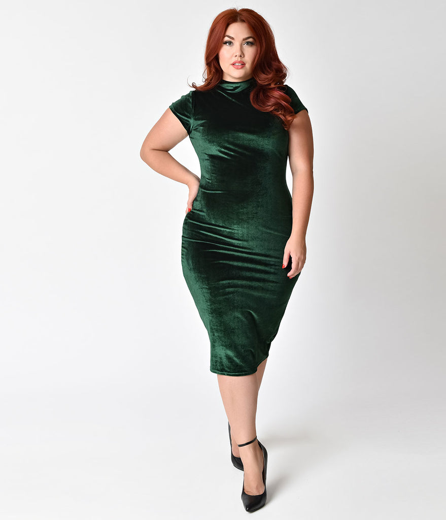 Unique Vintage Plus Size 1960s Emerald Green Velvet Stretch Knit Cap Sleeve Holly Wiggle Dress
