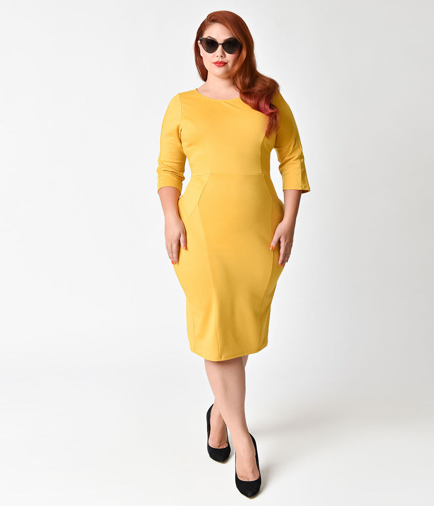 Unique Vintage Plus Size 1960s Style Mustard Yellow Long Sleeve Mod Wiggle Dress