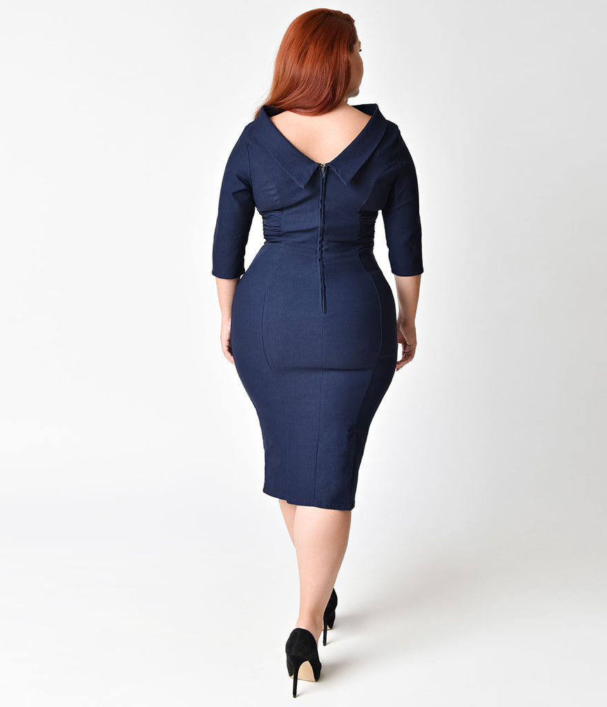 Unique Vintage Plus Size 1960s Navy Blue Stretch Sleeved Lucinda Wiggle Dress