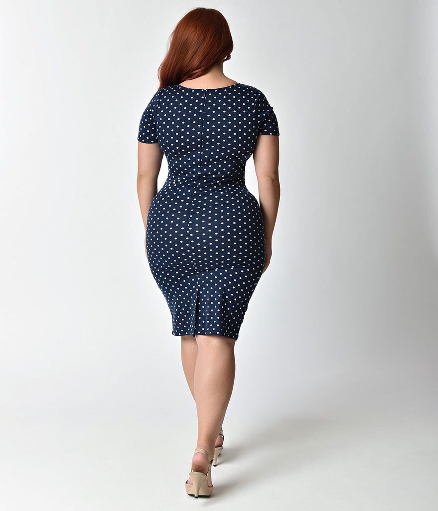 Unique Vintage Plus Size 1960s Style Navy & Ivory Dotted Short Sleeve Stretch Mod Wiggle Dress